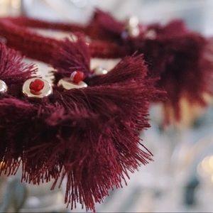 Jewelry - NEW Burgundy Acrylic Beaded Tassel Hoop Earrings